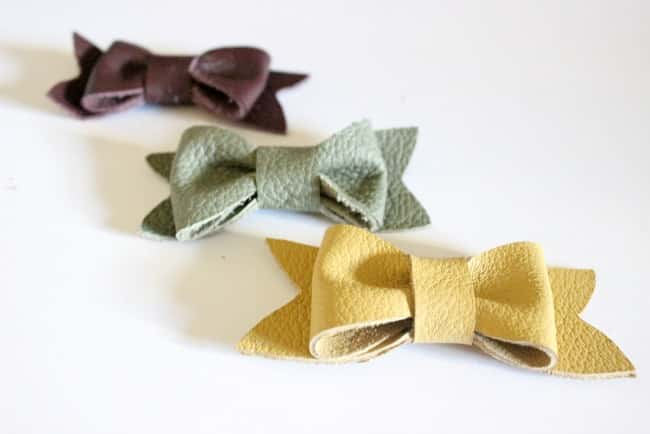 These cute DIY leather bows are a simple craft and you can use them for just about anything
