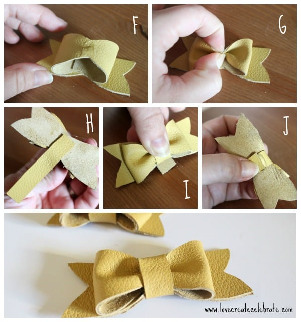 Tie a thin strip of leather around the center of the bow and glue in place
