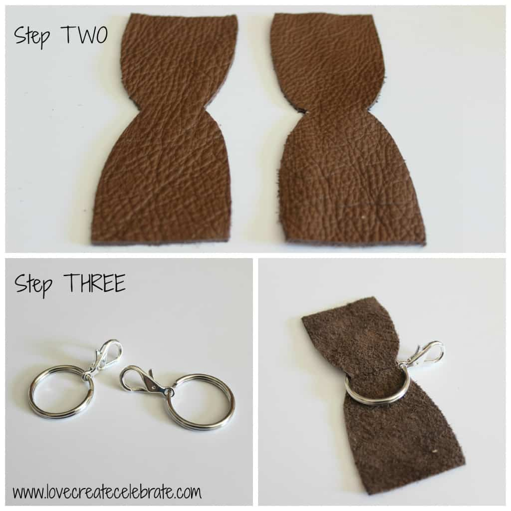 Your DIY camera strap will need to identical pieces of leather cut from the template and attached to the rings.