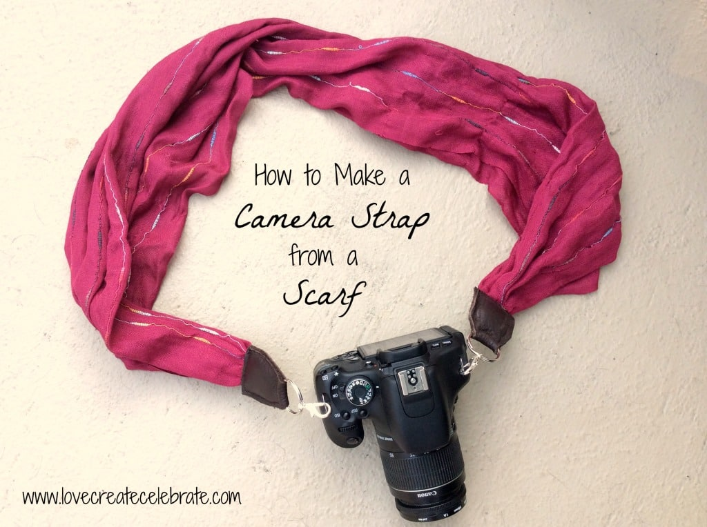 Follow this tutorial to make your very own camera strap from an old scarf!