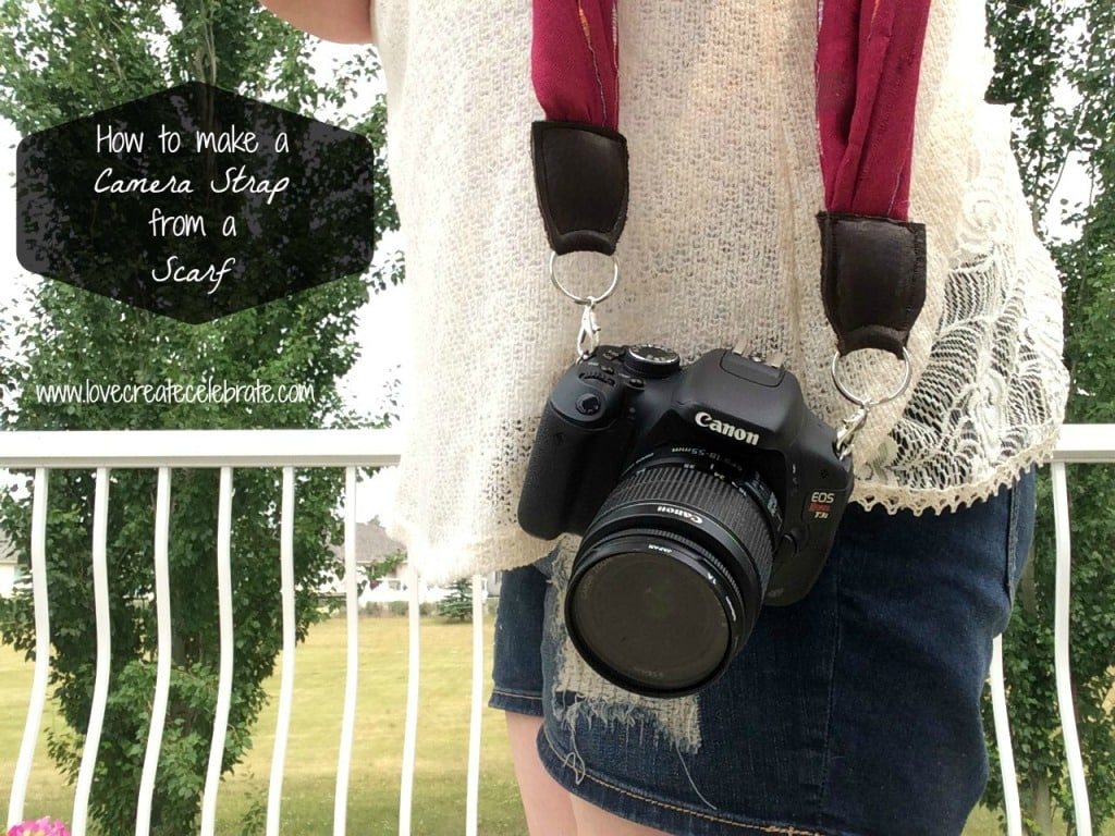 How to make a camera strap from a scarf.