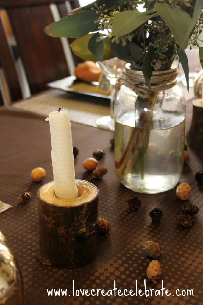 Thanksgiving table with the candle holder
