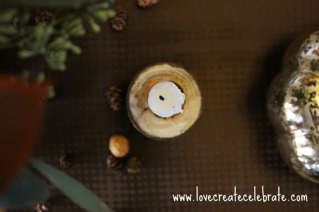 A top view of the wooden candle holder