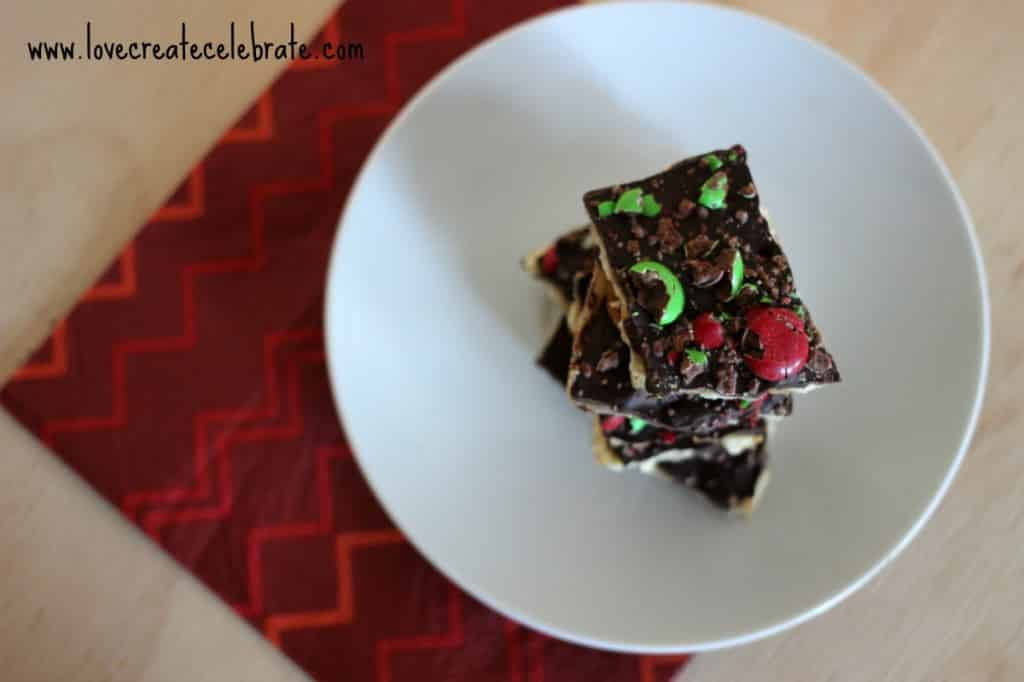 Holiday bark recipe on a Christmas plate