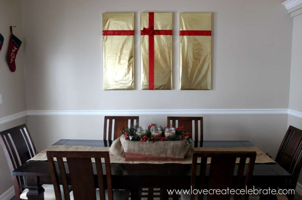 Wrap your paintings in Christmas wrapping to give them a festive look