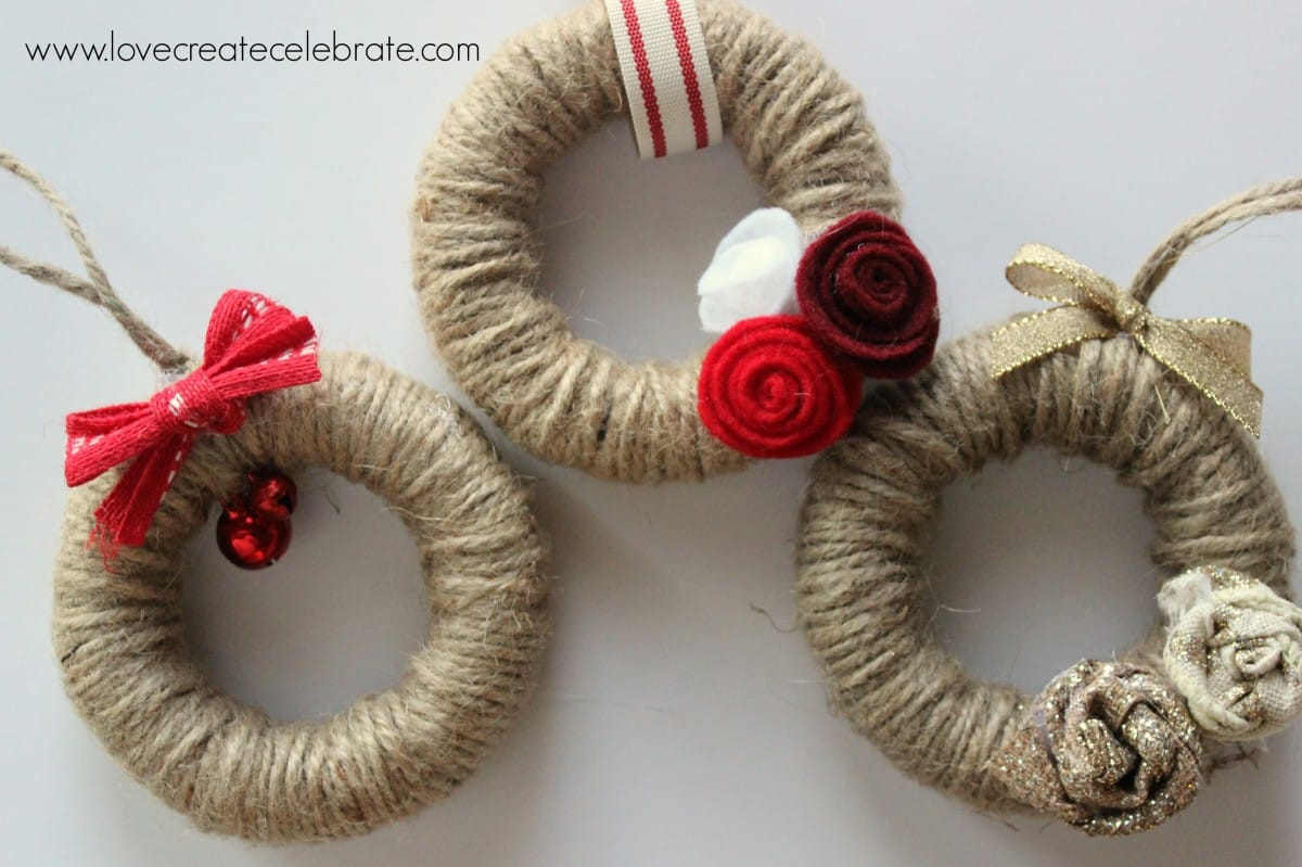 Burlap Home Decor Ideas Jute String Mini Wreath Ornaments Love Create Celebrate