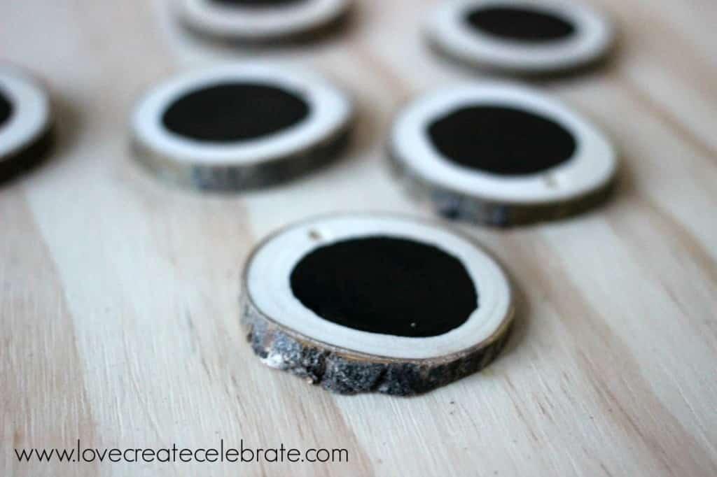 Chalkboard Paint Wood Slice Gift Tags