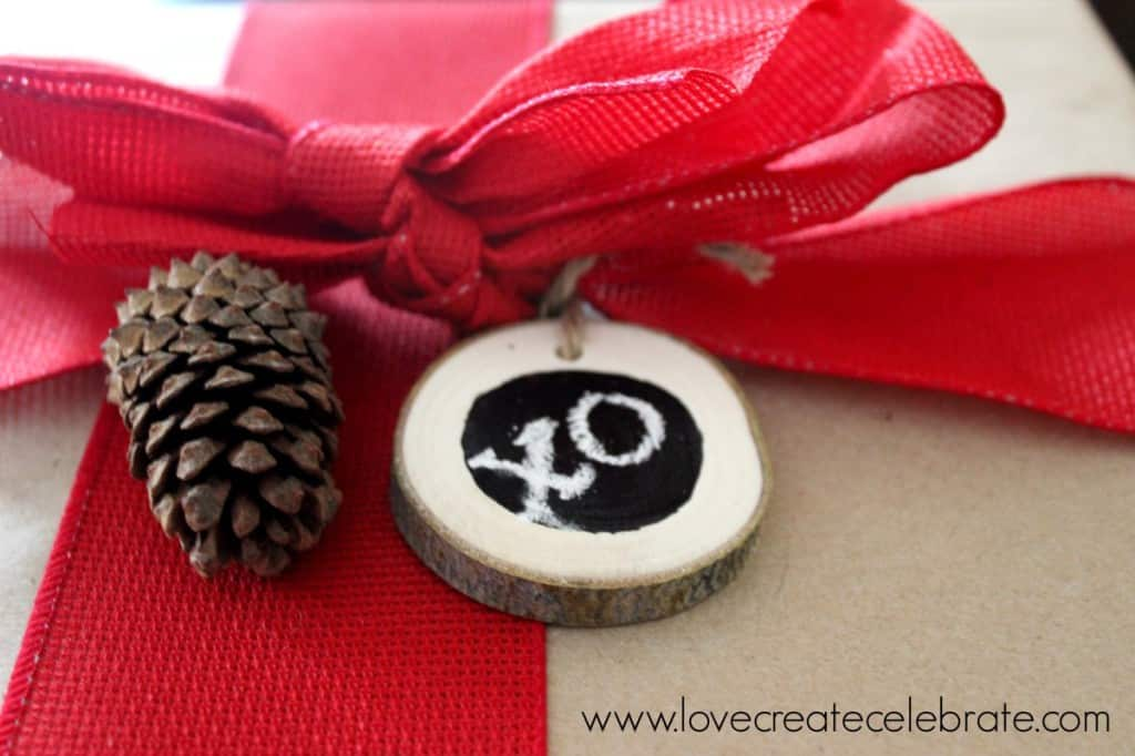 Chalkboard Paint Wood Slice Gift Tags