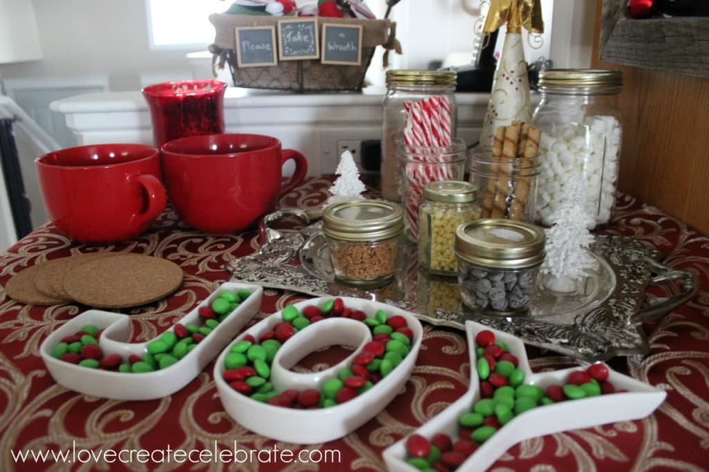 A hot chocolate bar with festive candy