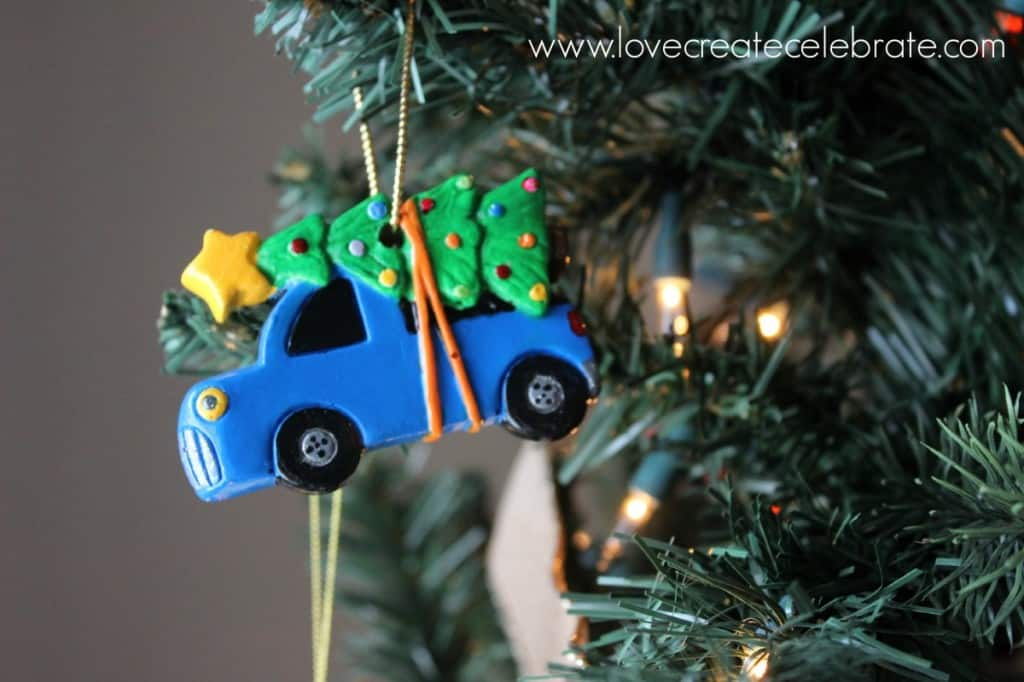 Home-made car with tree ornament