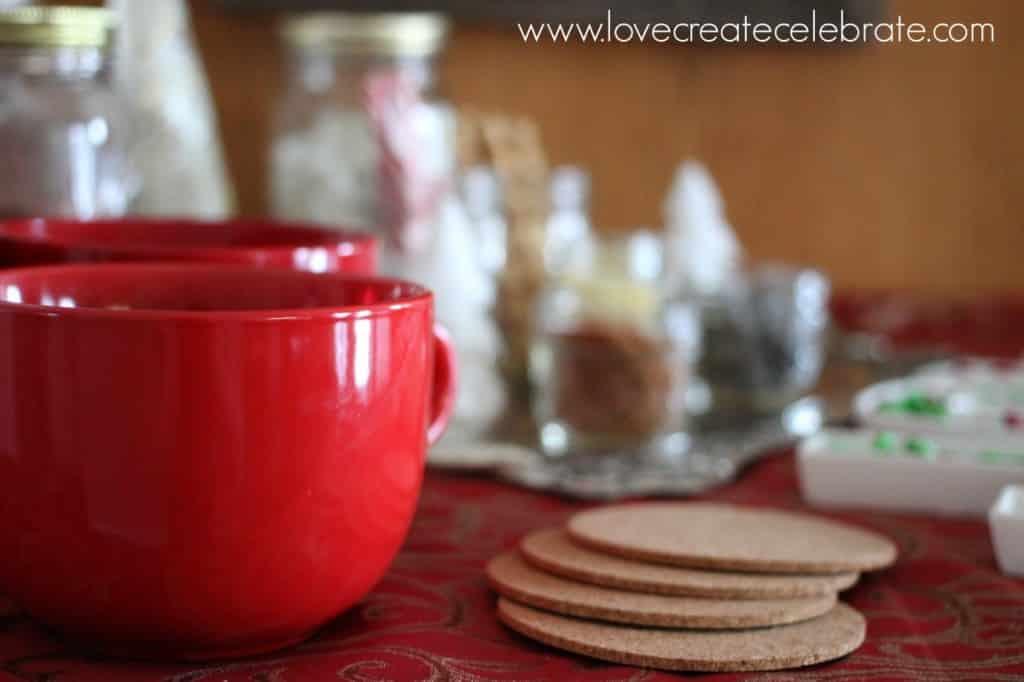 Closeup of hot chocolate mugs