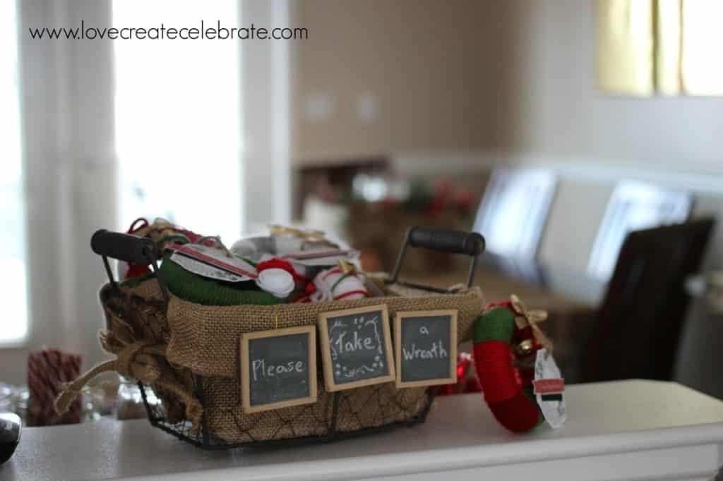 Add a simple basket to your burlap decoration scheme