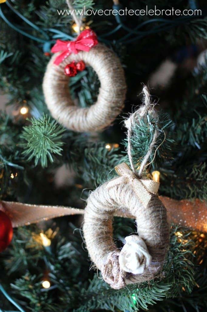 Jute string tree ornaments match the burlap Christmas decorations scheme.