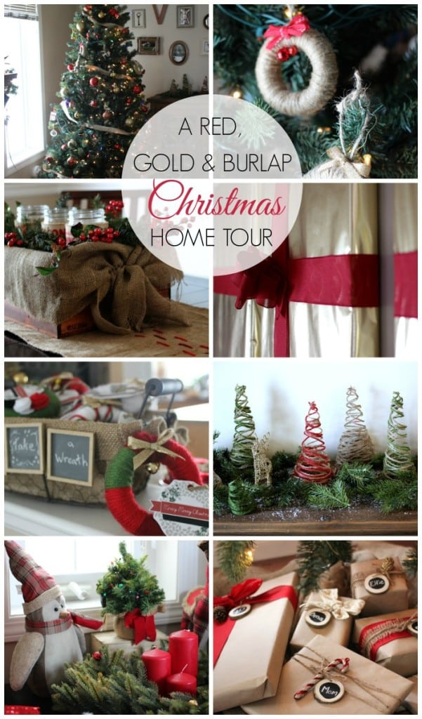 Red, Gold, and Burlap Christmas Home Tour