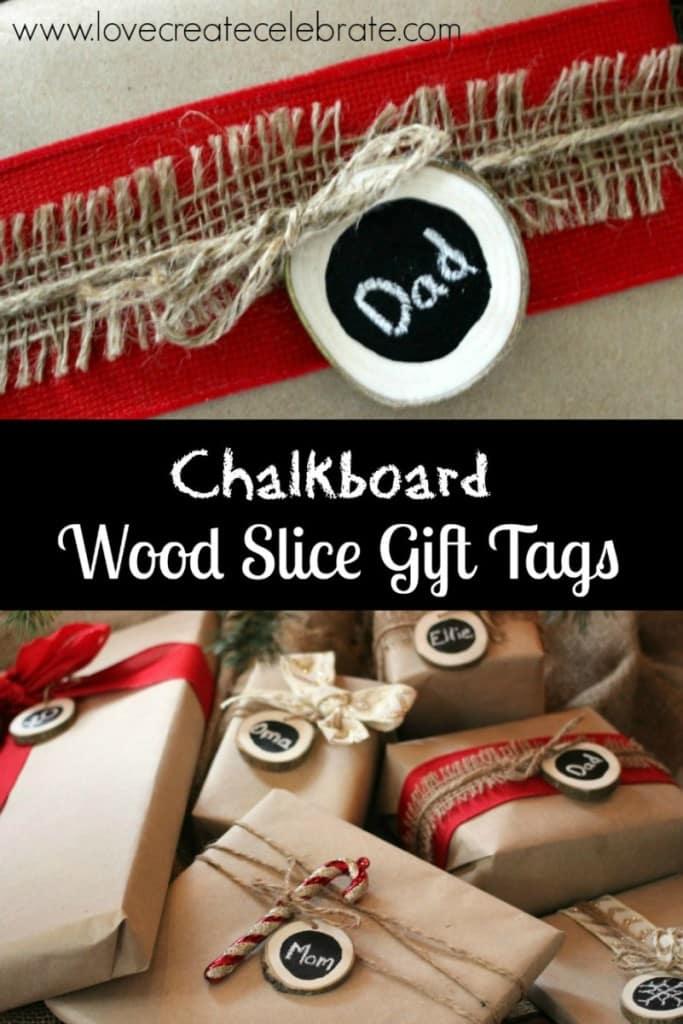 Chalkboard Wood Slice Gift Tags