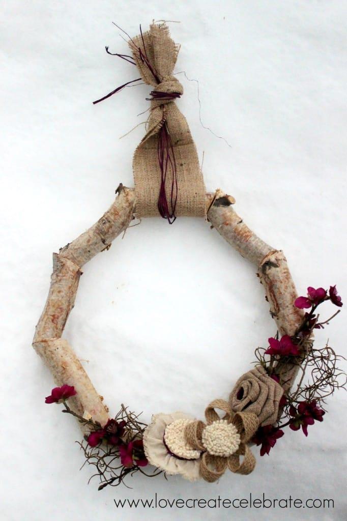 Winter Birch Wood Wreath Love Create Celebrate