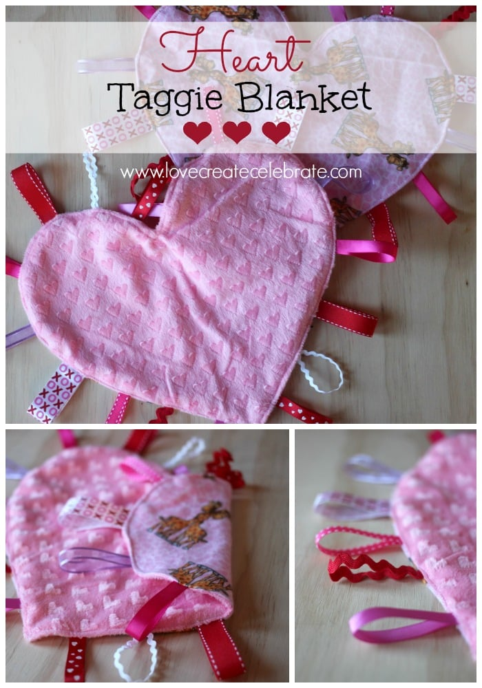 This easy tutorial will show you how to make a heart taggie blanket for a little sweetheart in your life!