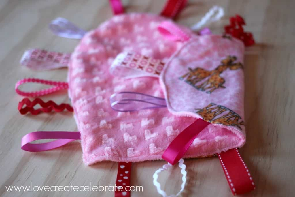 This heart taggie blanket is super soft for the littlest of hands.
