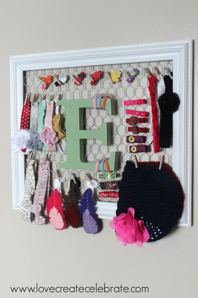 Hang this hair bow and headband organizer to decorate and organize- so adorable!