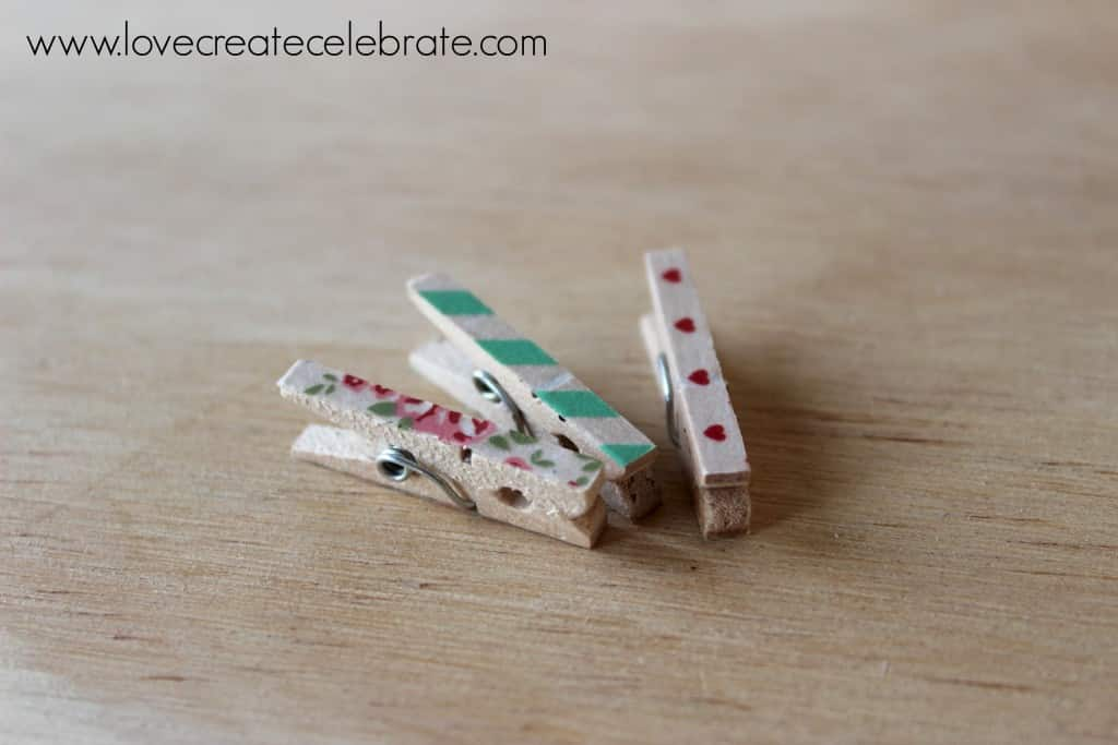 So many cute washi tape clothespins!