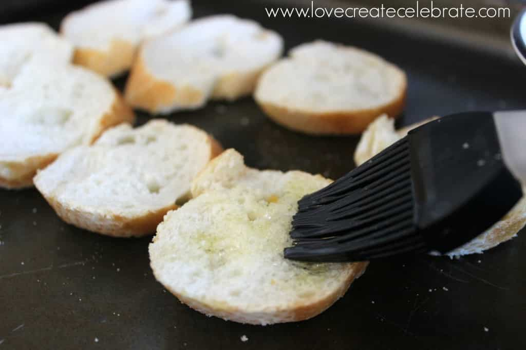 Bake the baguette slices with a bit of olive oil