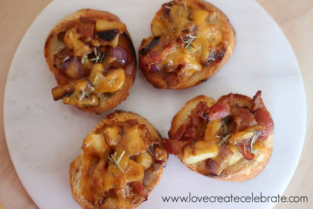 Apple, Bacon, & Cheddar Crostini are a simple savory party appetizer