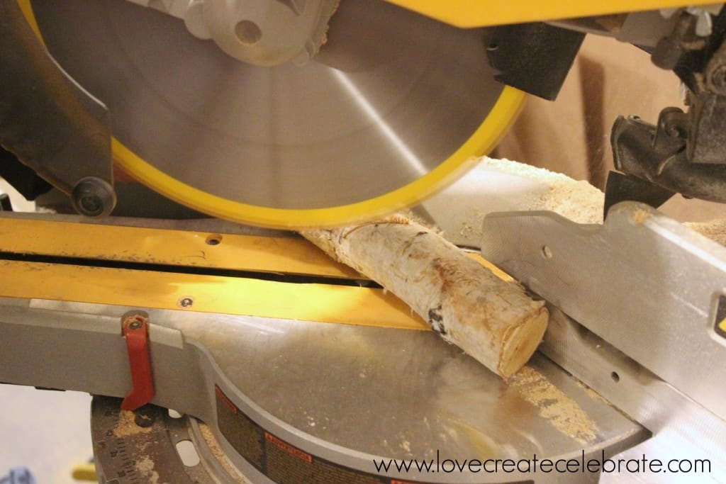 Cut the birch branches with the table saw