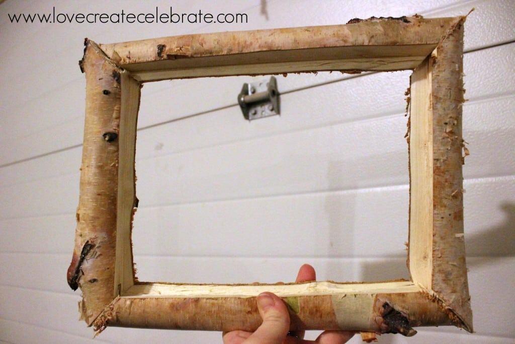 Rustic birch wood frame love create celebrate