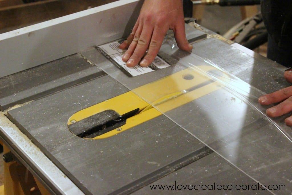 Carefully cut a piece of plexiglass to fit your new birch wood picture frame