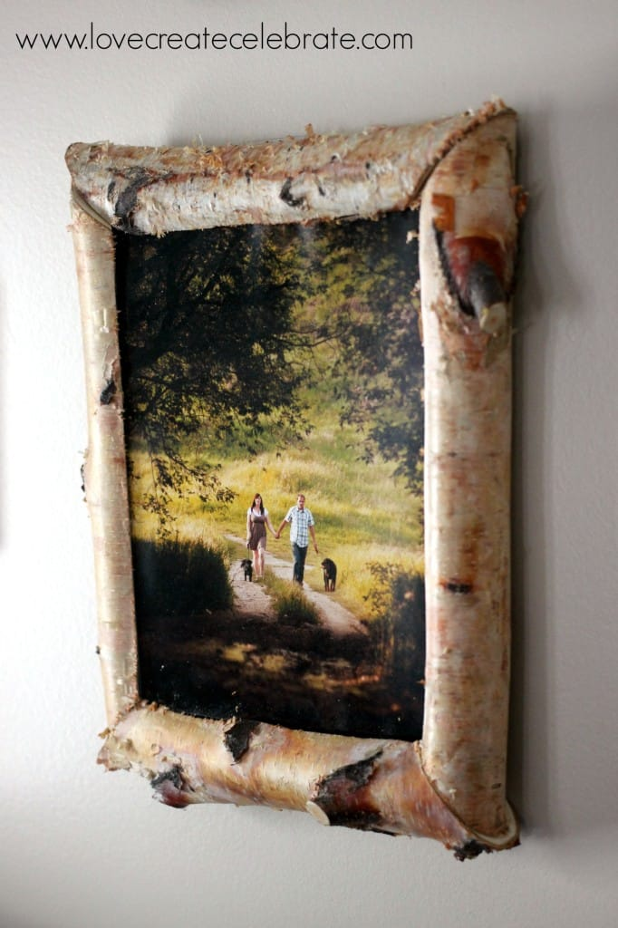 This DIY birch wood frame adds a touch of rustic decor to your home