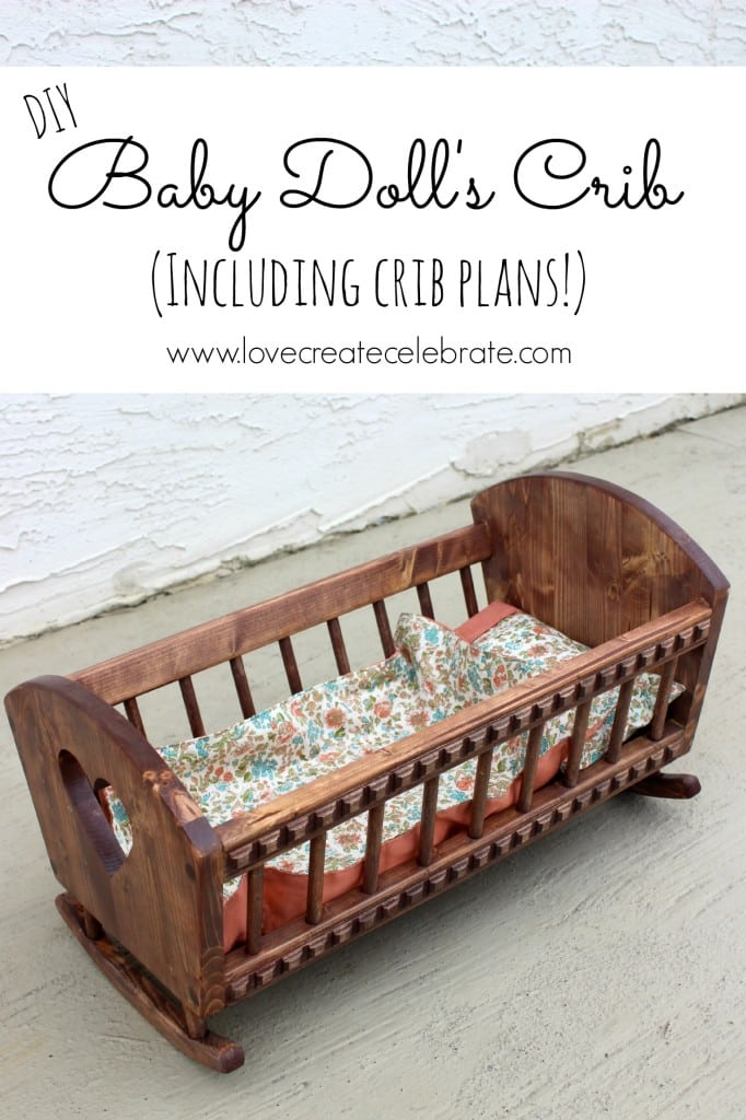 A beautiful DIY Baby Doll's Crib with free downloadable woodworking plans. This DIY baby doll cradle will be loved for years by your littles ones. A great tutorial for that perfect piece of DIY baby doll furniture.