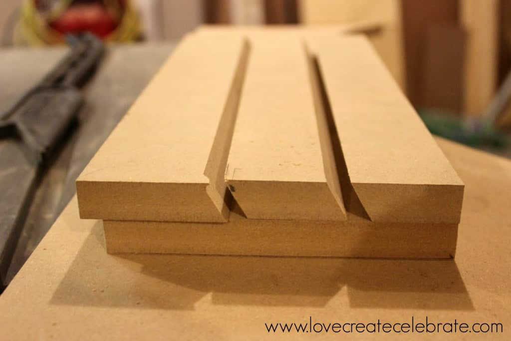 Cut pieces of MDF for the back of the peg board