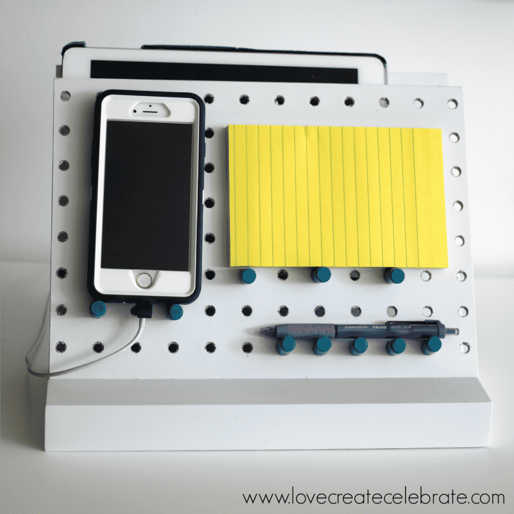 This peg board desk organizer is the perfect fun organizer for your desk space