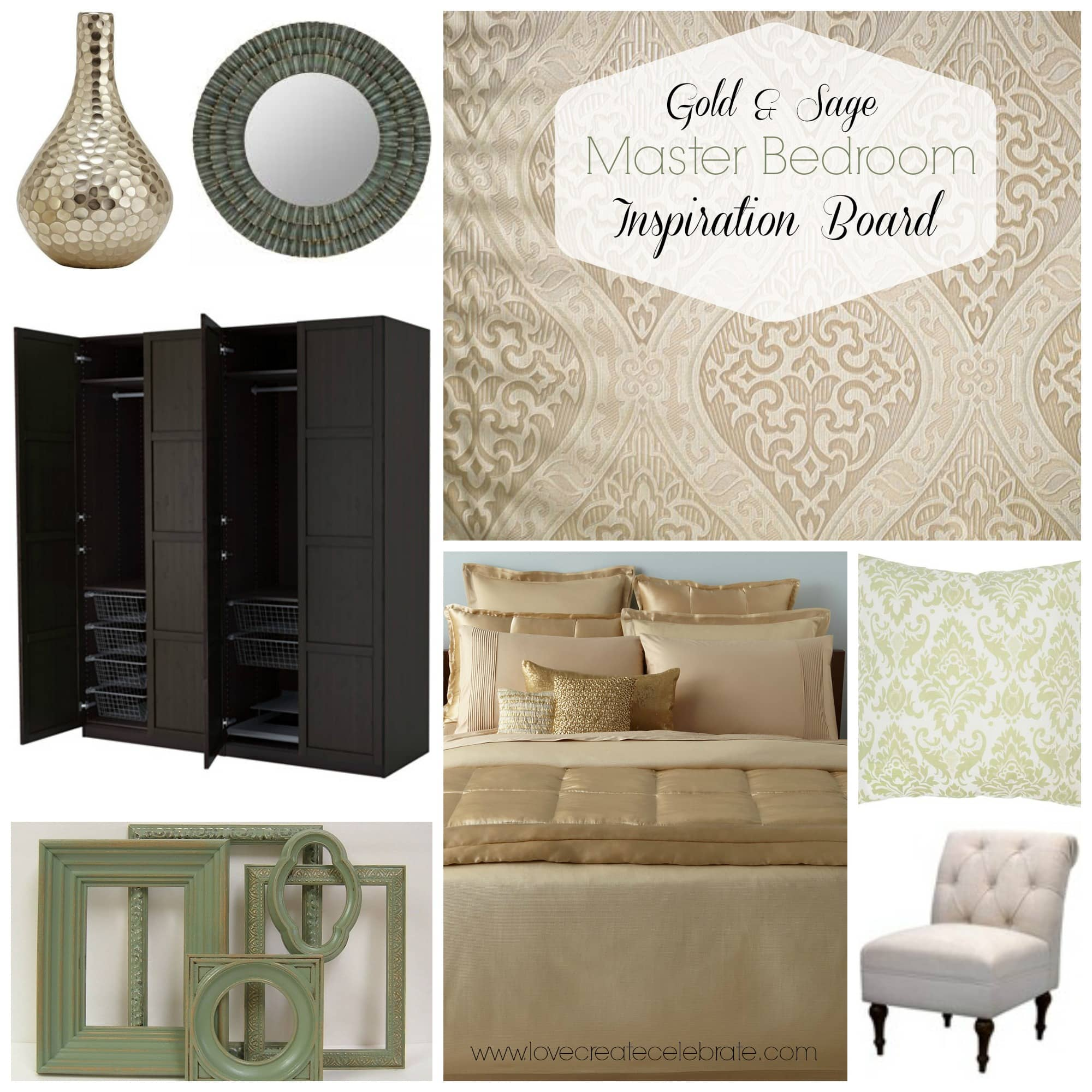 master bedroom inspiration board - love create celebrate