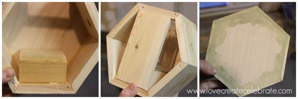 Cut a wooden piece for the jar to sit on inside, and cover the back opening length-wise