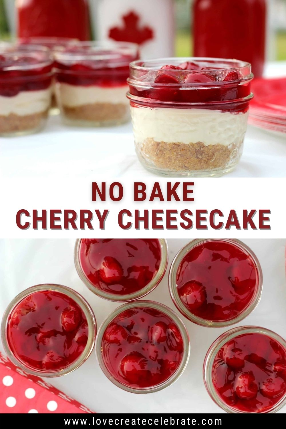 image collage of no bake cherry cheesecake in mason jars with text overlay