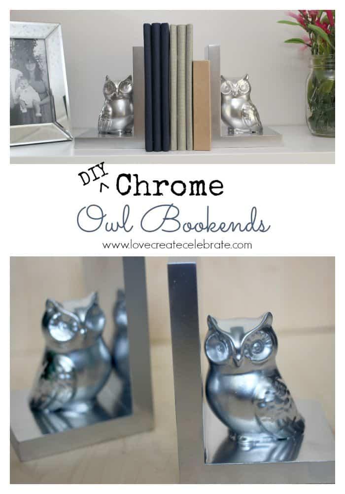DIY Chrome Owl Bookends