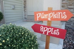 Fall pumpkin and apple sign