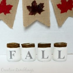 Fall baby food jars with chalk paint and glitter vinyl
