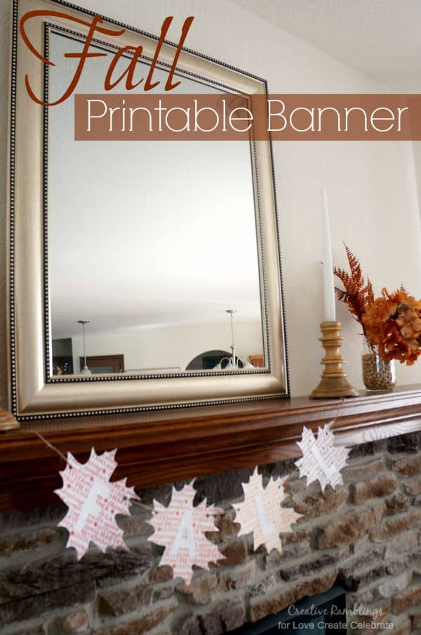 Fall printable banner with seasonal word art