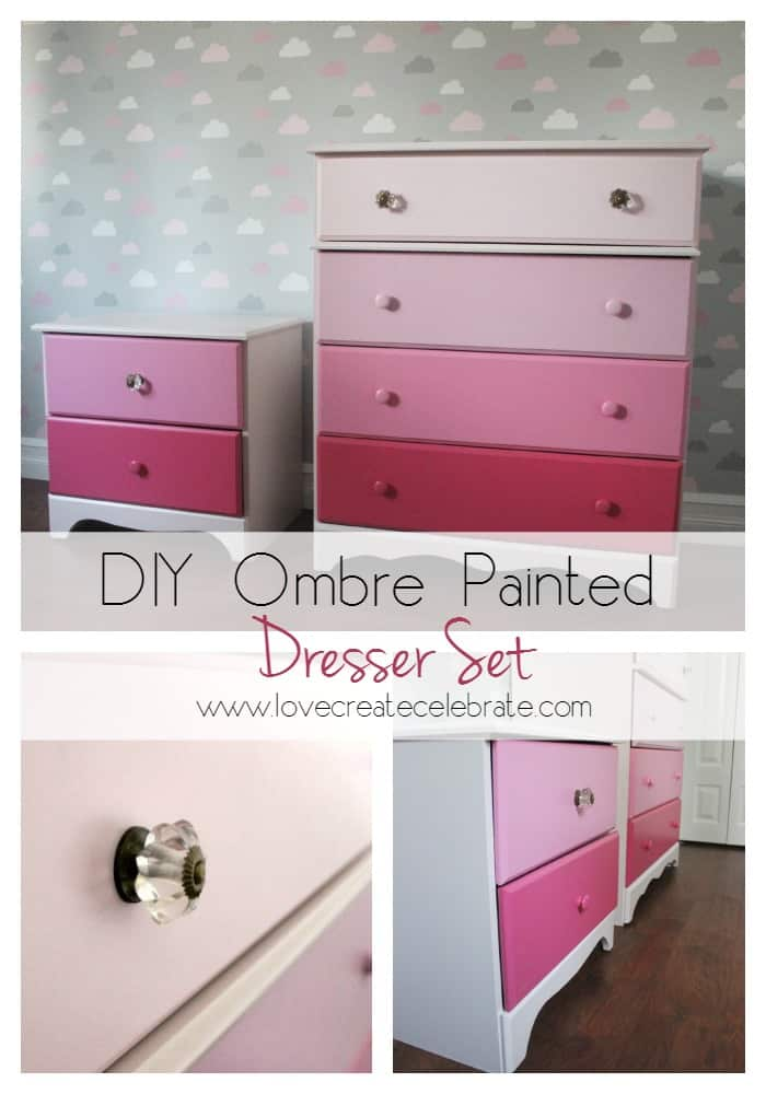 DIY Ombre Painted Dresser Set