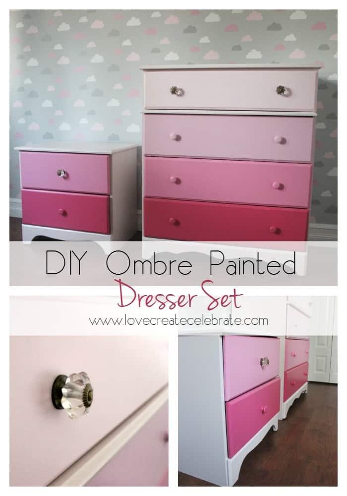 DIY Ombre Painted Dresser Set