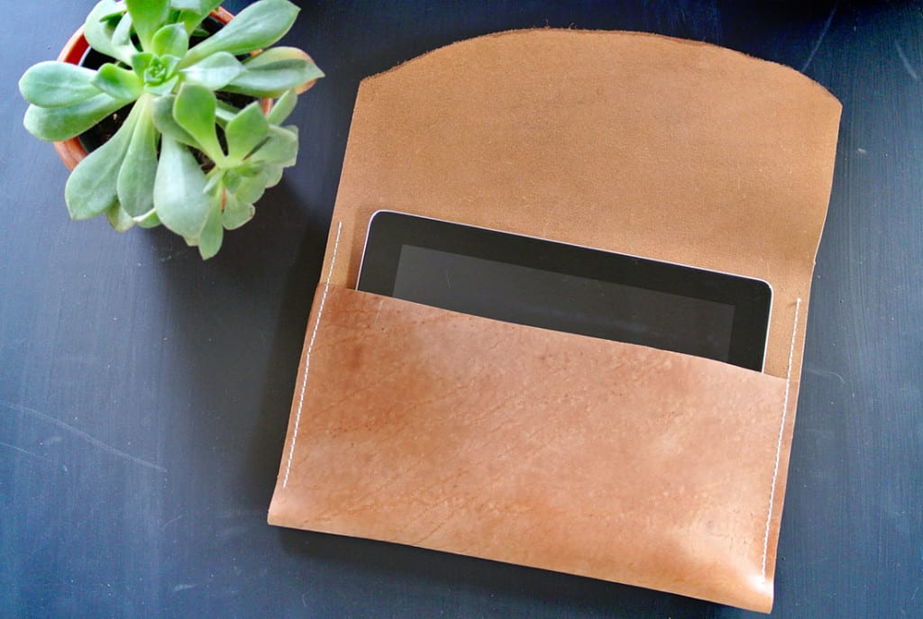 This leather iPad case is simple and handy.