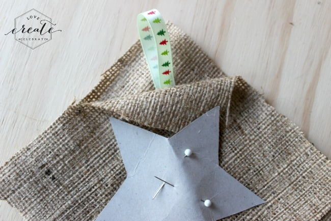 Add the ribbon to the burlap ornament template