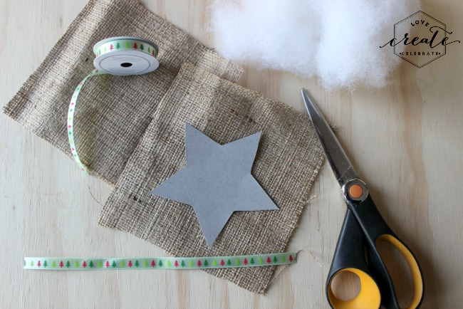Use stencils to cut out your desired shapes from burlap squares