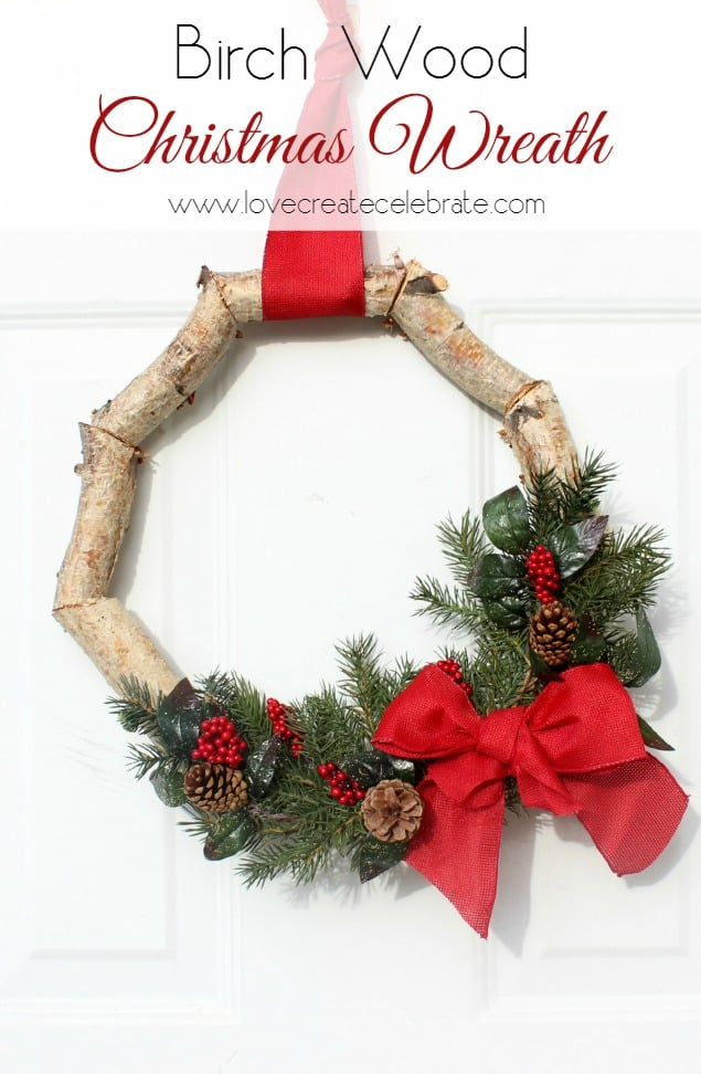 Christmas Birch Wood Wreath Title