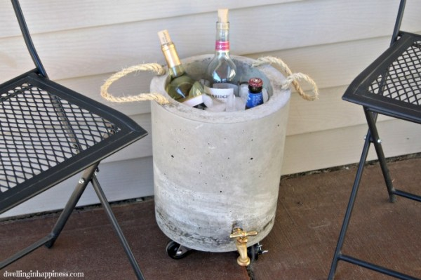 This concrete drink cooler is a quirky decor piece and perfect for an outside area.