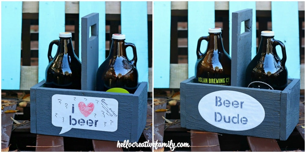 These DIY growler carriers are customizable with any saying and great for storing beer.