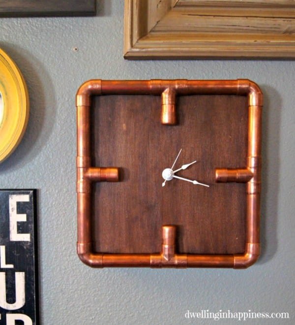 This industrial copper pipe clock is easy to create and adds interest to any room.