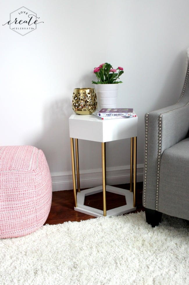 DIY hexagon side table